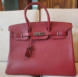 Hermès- Red Clemence Birkin HB w/ Palladium Hdwre